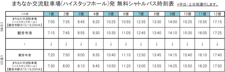 伊吹港までのシャトルバス時刻表1