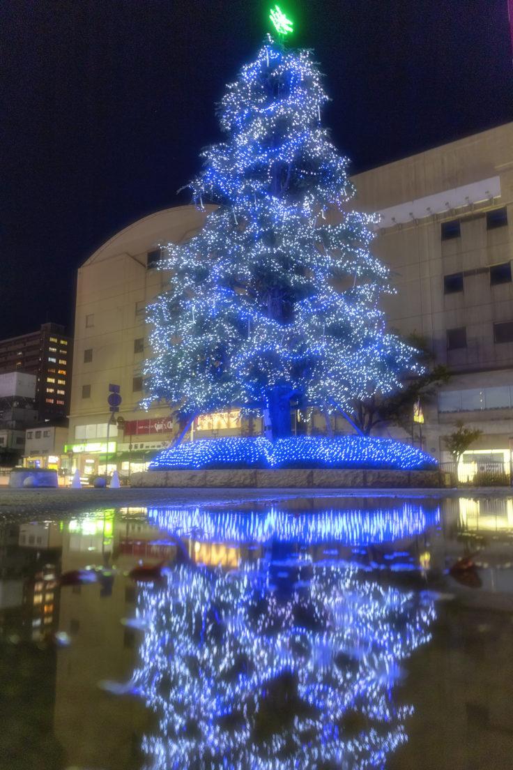 坂出井市民広場のクリスマスツリー青バージョン