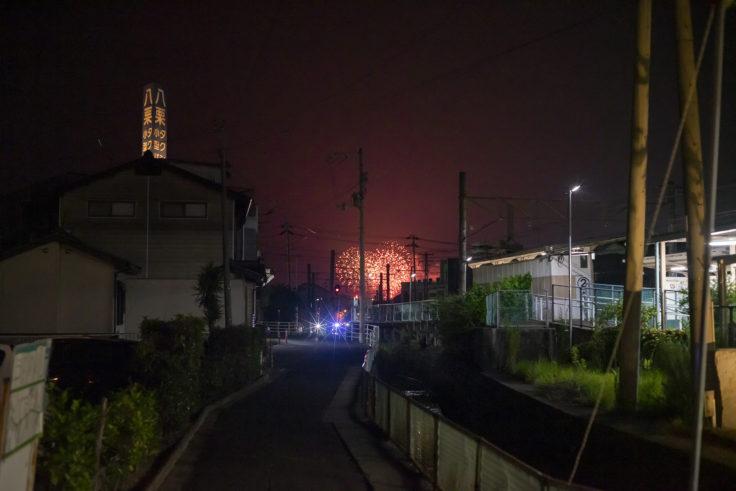 八栗駅から見た花火