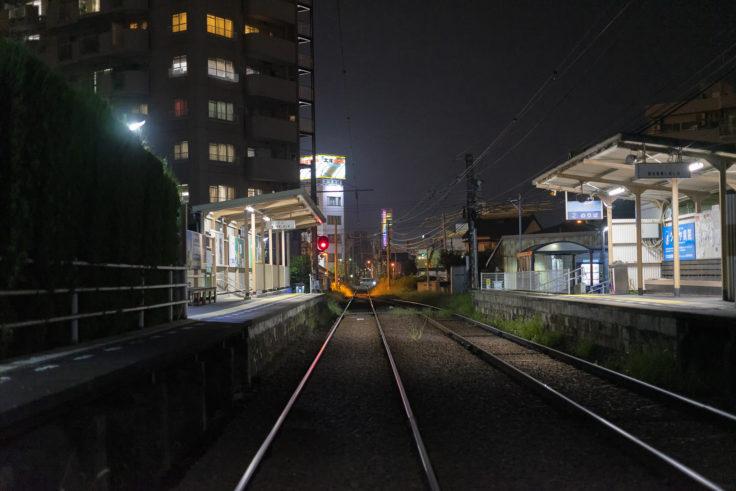 琴電花園駅から見た夜のシンボルタワー