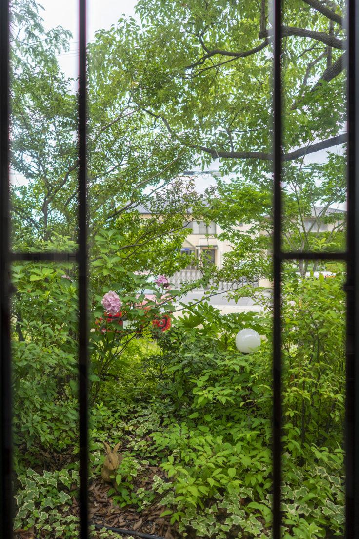 森のカフェの外の眺め