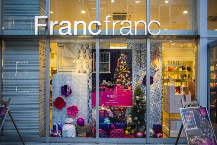 Francfrancのクリスマスディスプレー
