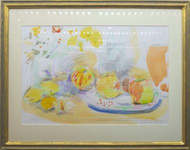 木村美鈴「黄色いりんごと皿絵」