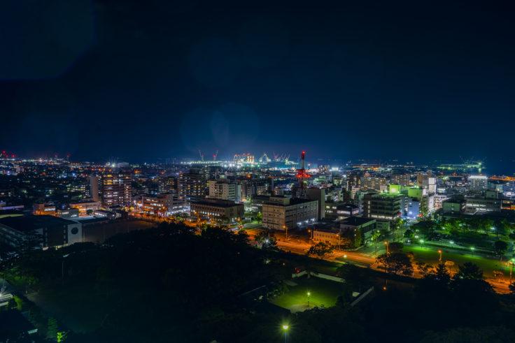 丸亀城から見た夜景