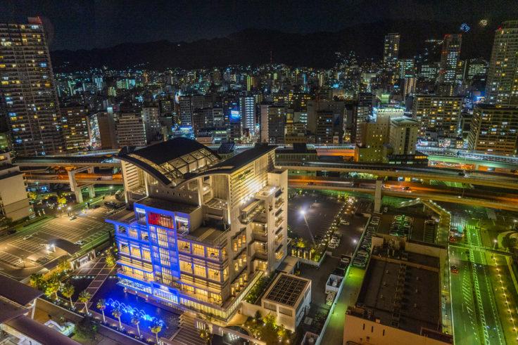 神戸ポートタワーから見た神戸ポートタワーホテル なごみの湯宿