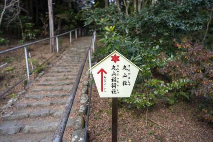 大麻比古神社の丸山社と丸山稲荷社標識