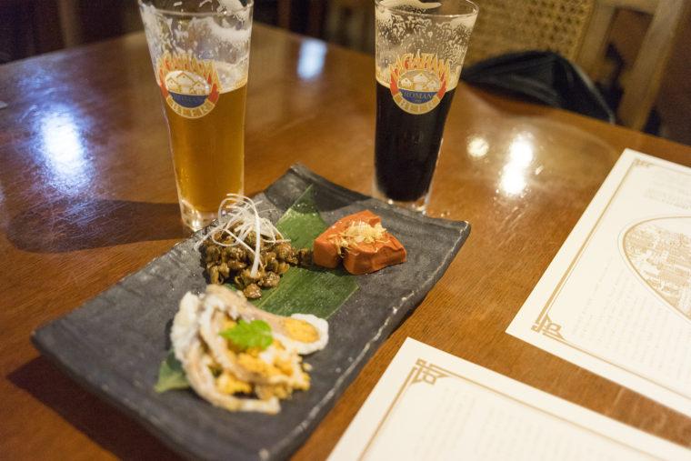 赤コンニャク、シジミ、鮒寿司