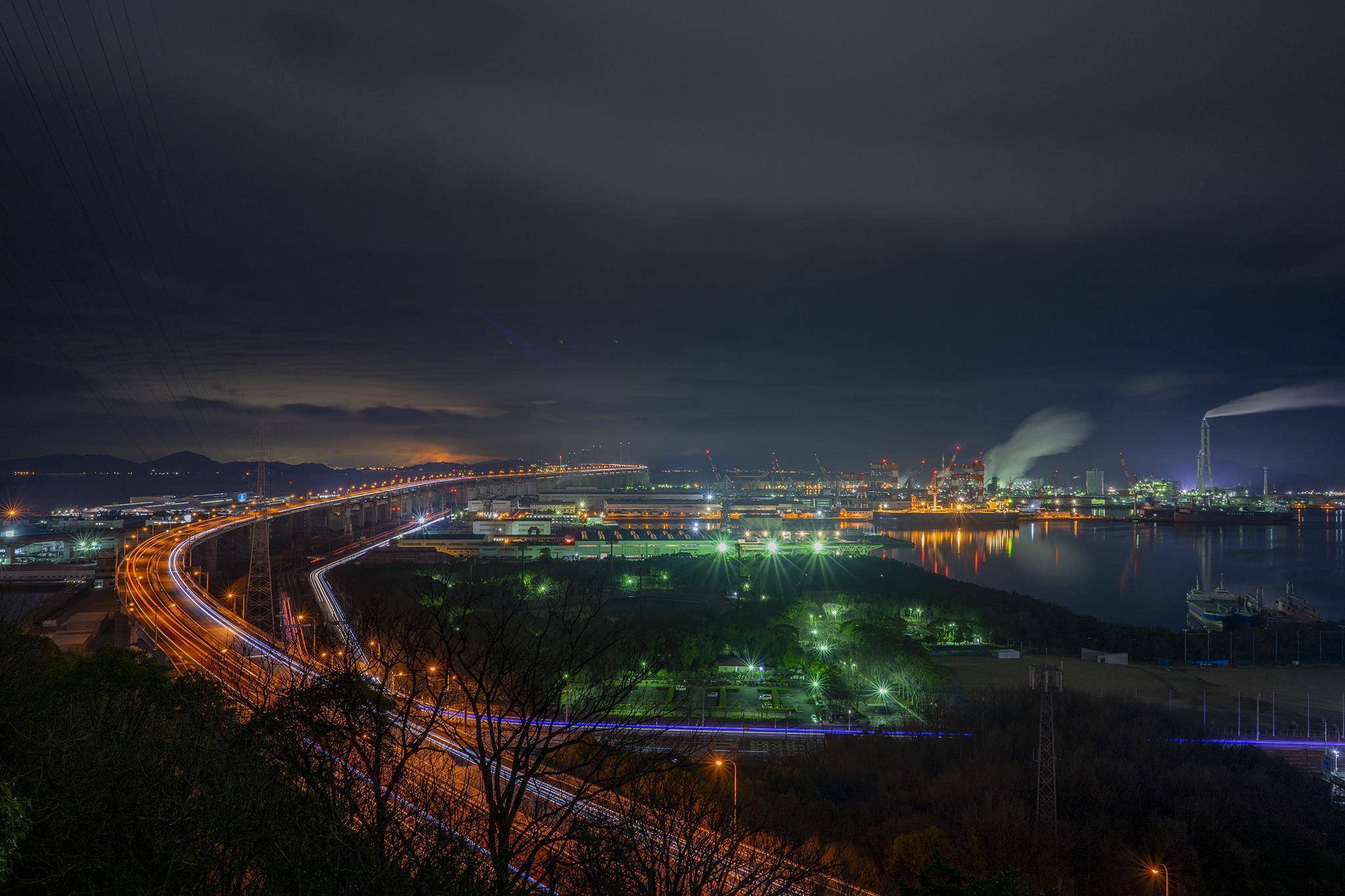 常盤公園から見た瀬戸大橋の夜景