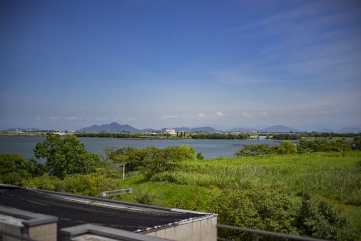 琵琶湖博物館展望デッキからの琵琶湖