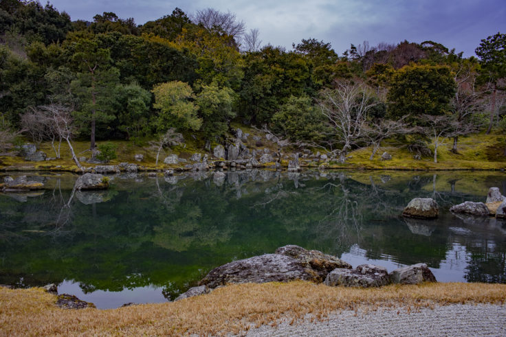 天龍寺の曹源池正面