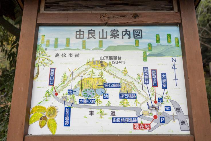 由良山登山道案内図