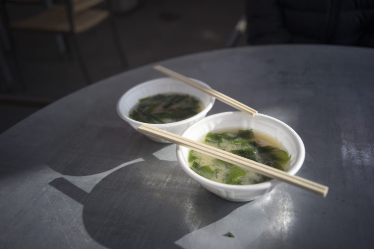 北灘漁協組合さかな市の無料味噌汁