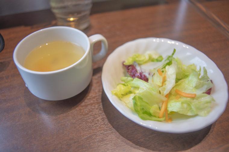 いきなり!ステーキランチのスープとサラダ