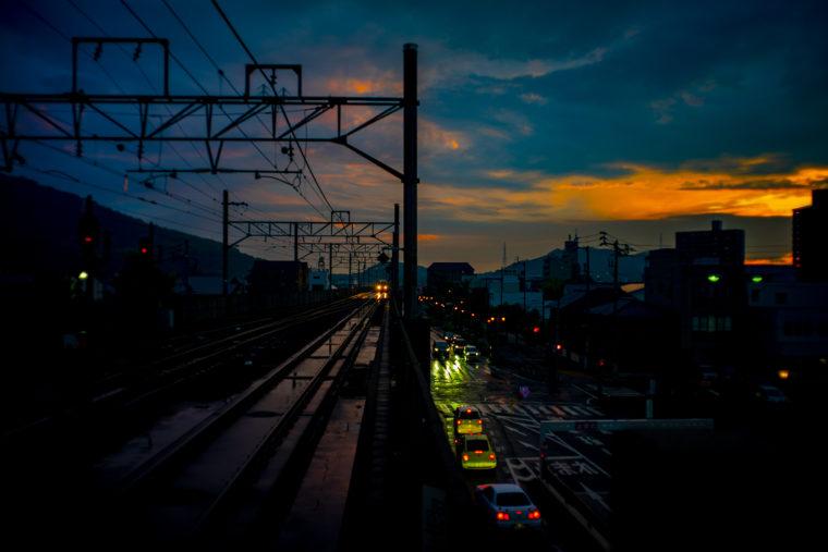 雨の日の夕焼け