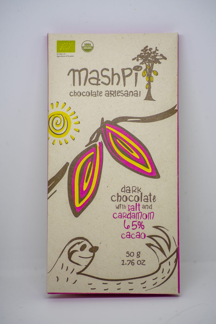 スローウォーターカフェ「マシュピの森のチョコレート」カルダモンと塩・カカオ65%パッケージ