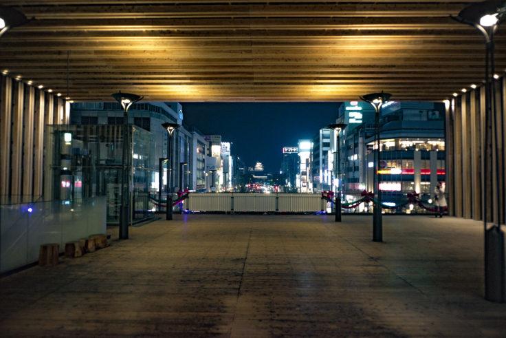 姫路駅ビルから見た夜景姫路城