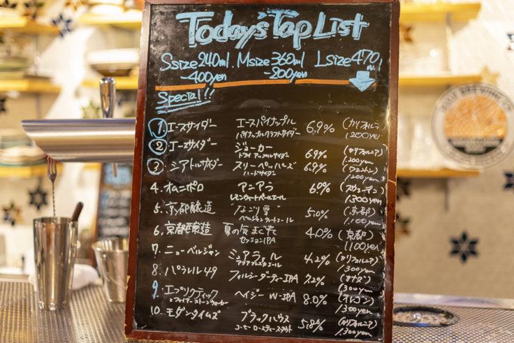 高野麦酒店本日のビールメニュー