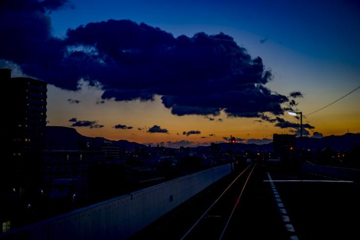 栗林駅からの朝焼け