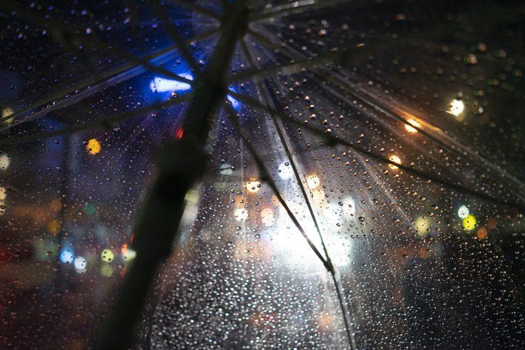 夜の雨、傘