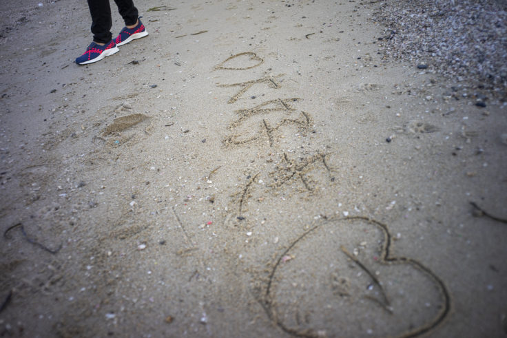 砂浜の愛の告白