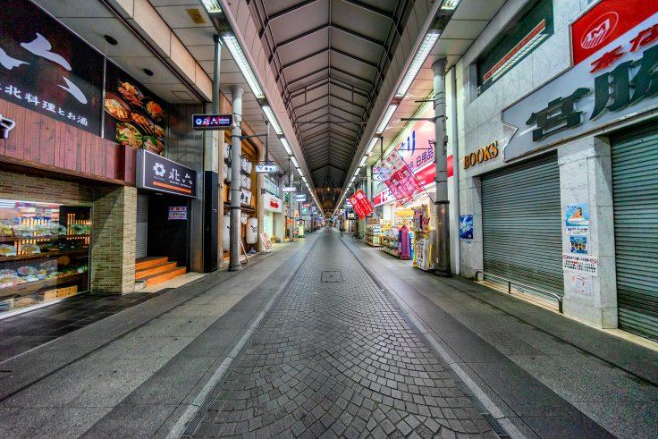 超広角レンズで撮る高松市アーケード商店街