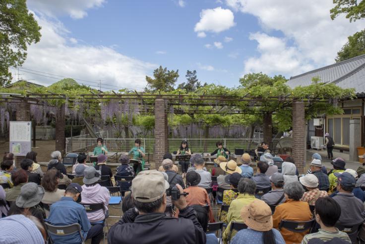 岩田神社の藤まつり胡弓の演奏