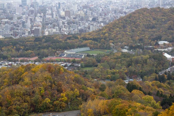 大倉山から見た円山球場