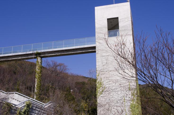 淡路夢舞台の塔を見上げる