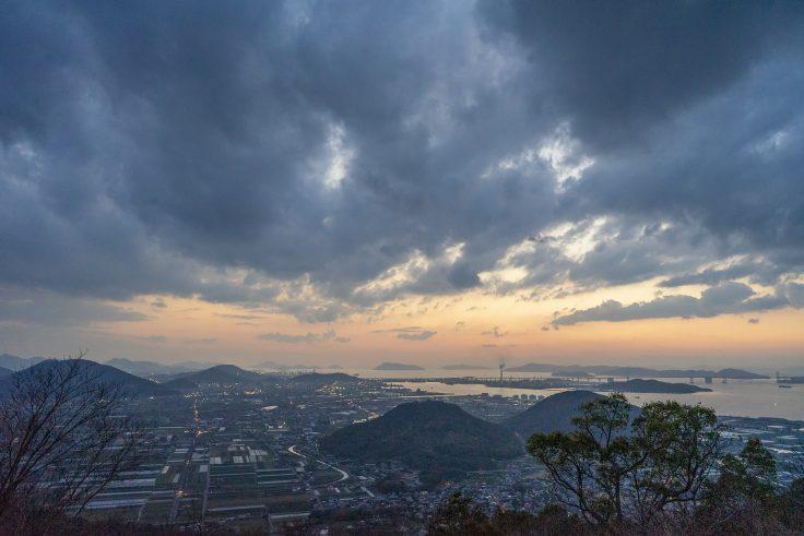 五色台から見る瀬戸内海の夕焼け