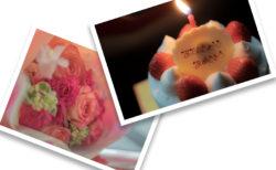 津島花店のブーケ・ブラン丸亀店の誕生日ケーキ