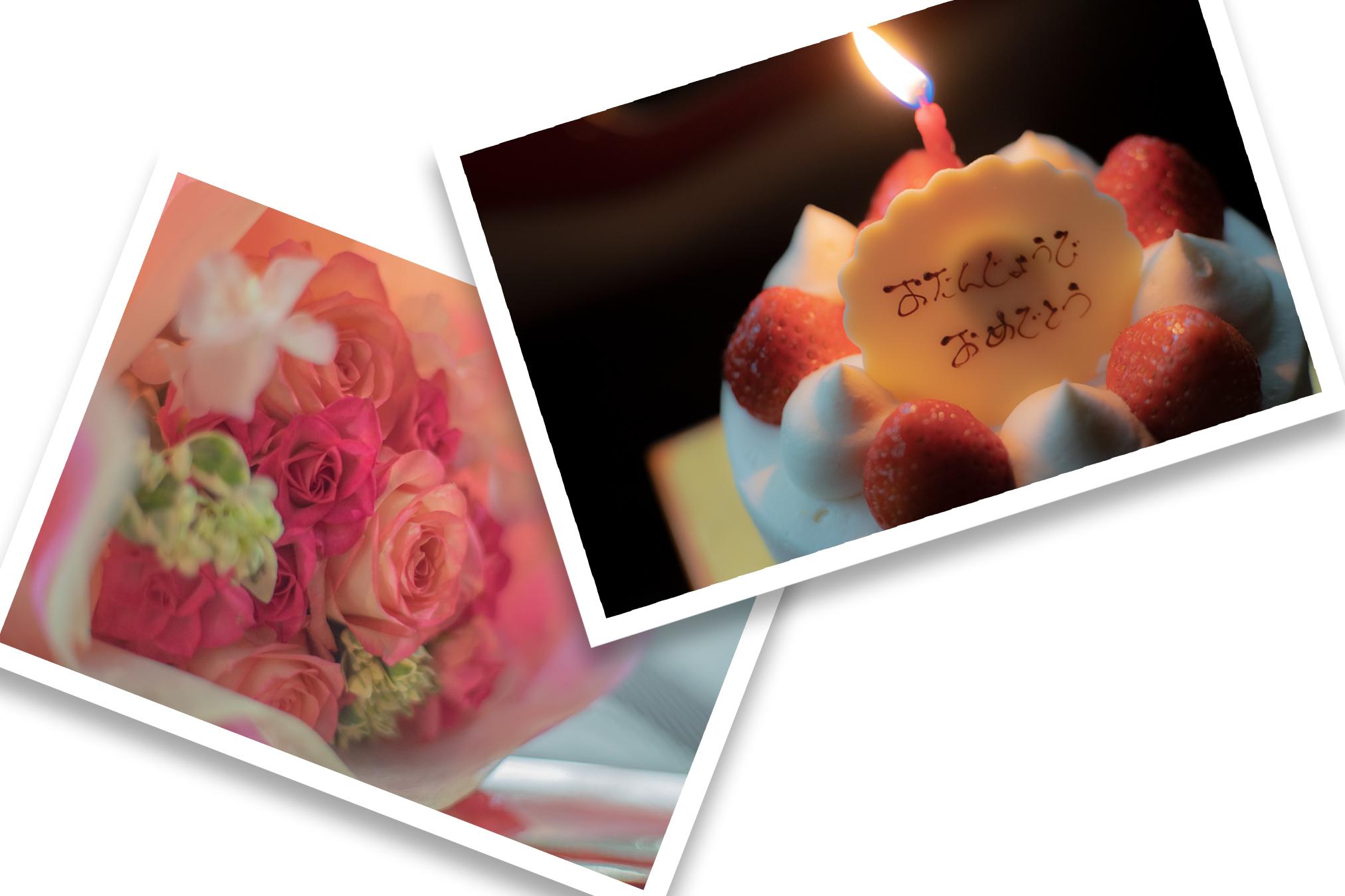 BLANC(ブラン)丸亀店の誕生日ケーキと津島花店のブーケ